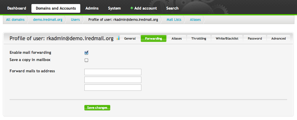 iRedMail Admin Pro - Email Forwarding